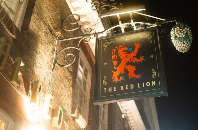 赤いライオンの紋章の画像。