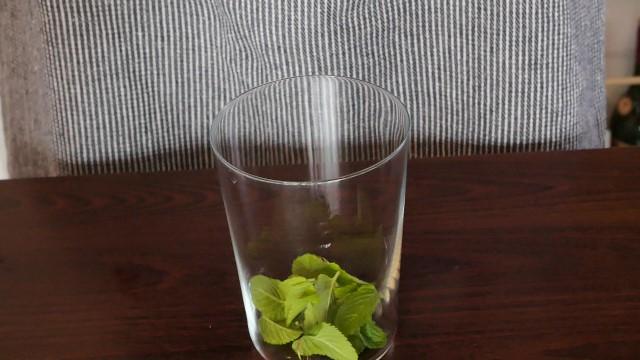 グラスに入れたミントの画像。